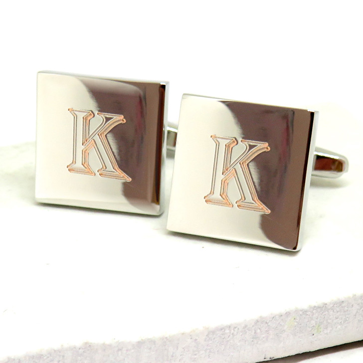 Personalised Algerian Square Cufflinks - Large Initials dropshipping UK ayedo.co.uk