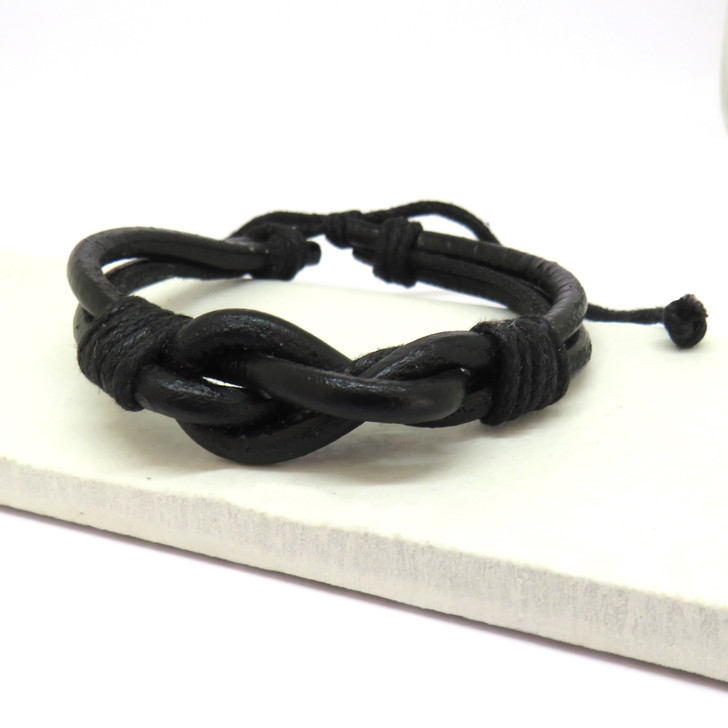 Black leather & cord for men boys women or teenage girls bracelet in a gift box UK