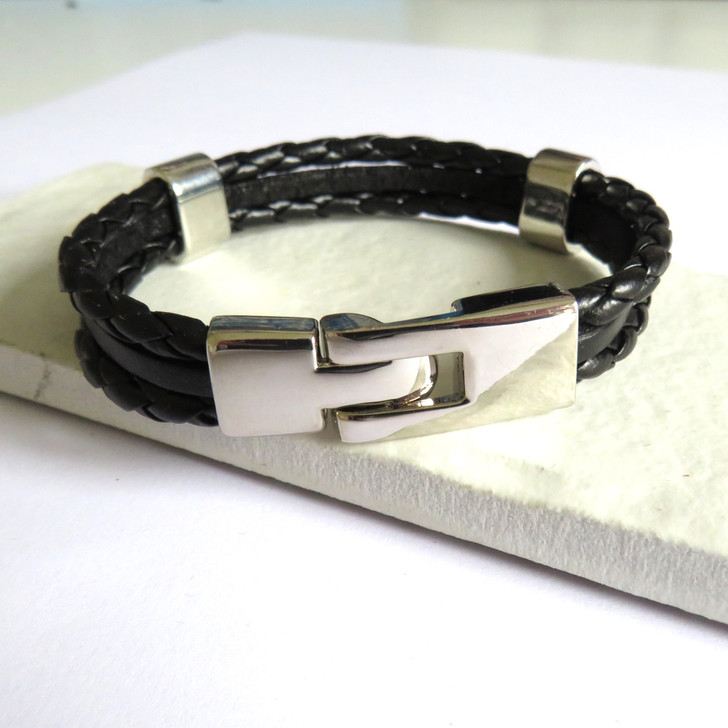 multi-strand black leather & cord men's bracelet ayedogifts trade dropshipping UK