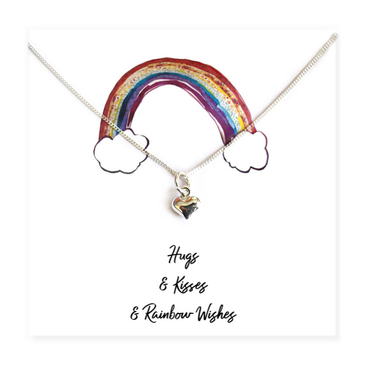 Heart Necklace on Hugs & Kisses Rainbow Message Card lockdown gift for a friend to say thank you for being a hero. UK
