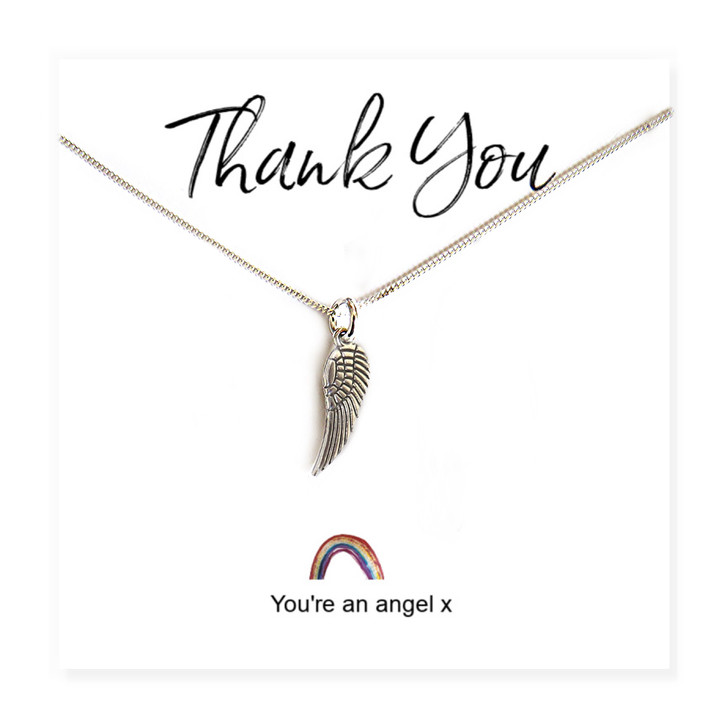 """Angel wing necklace on a little rainbow message card with the words """"Thank you, You're An Angel x"""""""