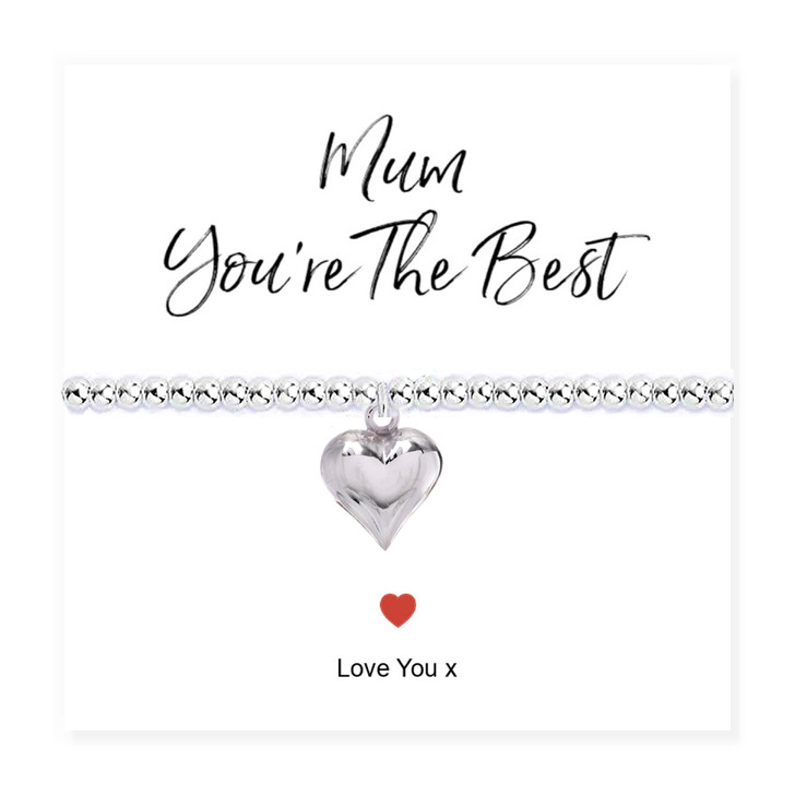 Mum You're The Best Stretch Beaded Bracelet & Card Trade drop shipping UK ayedogifts perfect for Mothers day, Thank you, her birthday for your sister, girl friend, Auntie, Mum or Gran.