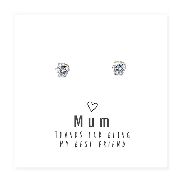 """Mum Thanks For Being My Best Friend "" round cubic zirconia Earrings & Message Card Trade drop shipping UK"