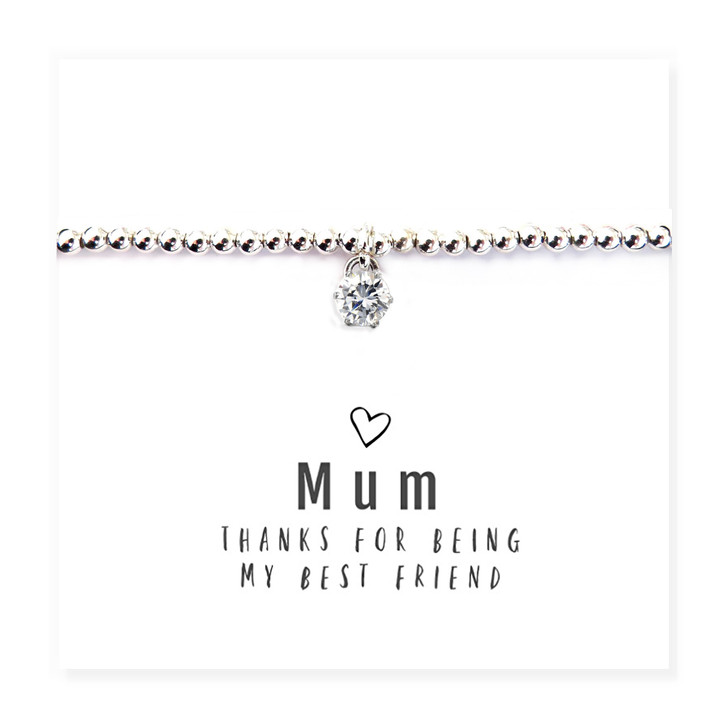 """Mum Thanks For Being My Best Friend "" round cubic zirconia Bracelet & Message Card Trade drop shipping UK"