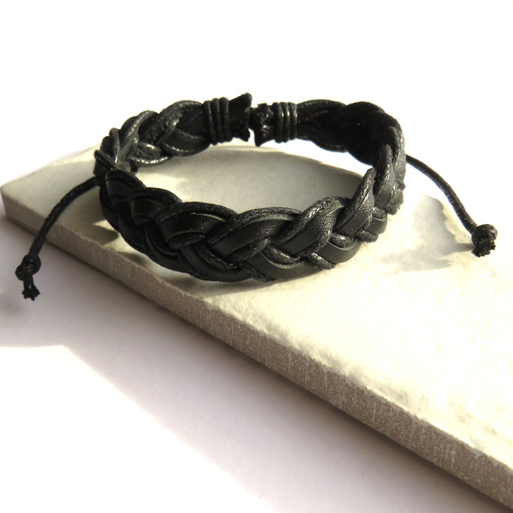 Mens Black Pleated Leather Bracelet UK trade dropshipping