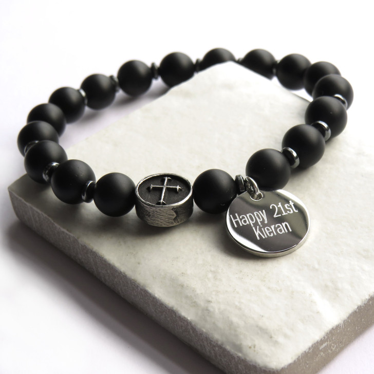 Personalised men's bracelet is made from natural black agate beads & stainless steel beads on elasticated thread making these suitable for men or teenage boys. These are perfect for his 16th,18th or 40th birthday, Father's day , Valentines or Christmas. UK dropshipping.