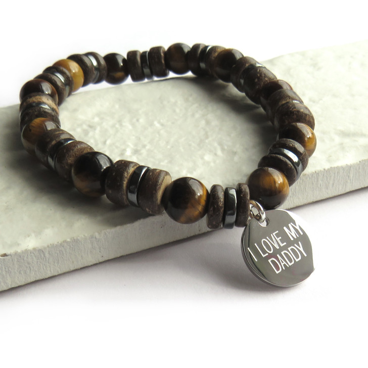Personalised men's beaded stretch bracelet is made from natural tiger eye beads which are polished and mixed with with natural coconut beads and non-magnetic hematite beads. Suitable for a man or teenage boy whether it's his 16th,18th or 40th birthday, Father's day, Valentines or Christmas.