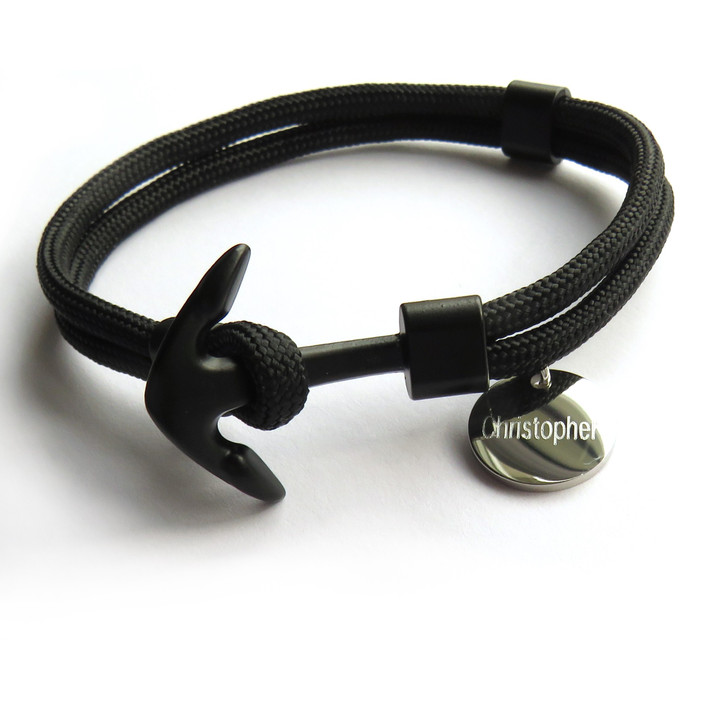 Engraved men's anchor bracelet with a metal clasp & made from nylon paracord. Suitable for a man or teenage boy and perfect for a special gift for his birthday,Christmas,Father's day or Valentine's day. UK supplier dropshipping.