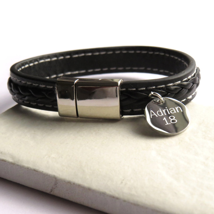 Personalised faux pleated leather bracelet with magnetic stainless steel clasp and finished off with white stitching. Suitable for a man or teenage boy and perfect for a special gift for his birthday,Christmas,Father's day or Valentine's day. UK Men's Gifts