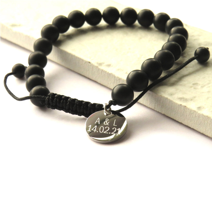 Personalised natural black agate bracelet is made from smooth 8mm beads on an adjustable nylon cord making it suitable for men and boys, a great gift for his birthday,Christmas,Father's day or Valentine's day or as a a thank you gift.