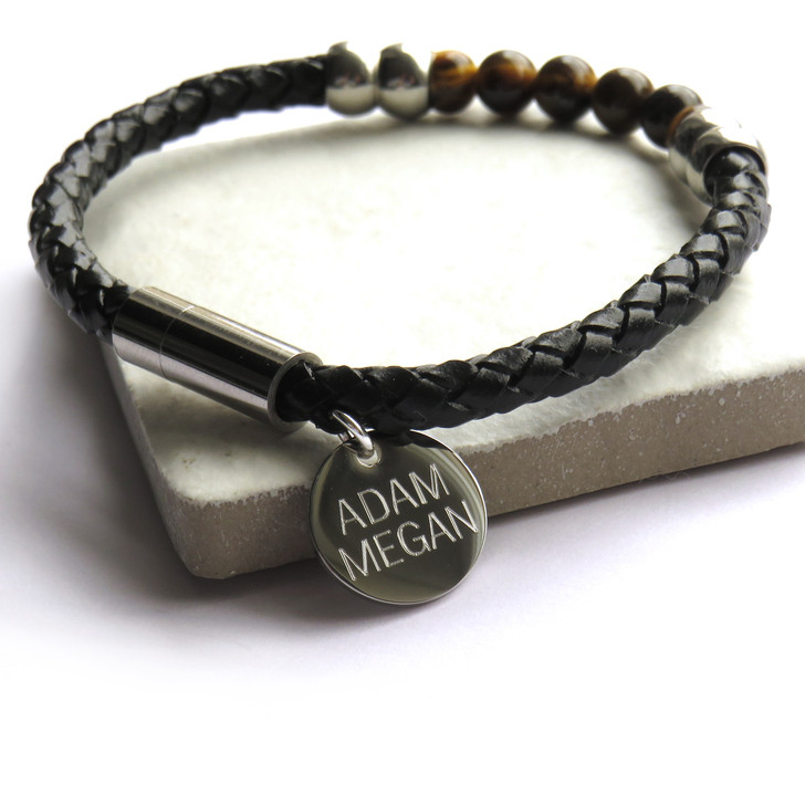 Personalised men's natural tigers eye bracelet is made with a 304 stainless steel magnetic clasp & beads and braided leather cord. These cool bracelets are great for his birthday, Father's day, Valentines or Christmas or for a new Daddy. UK dropshipping