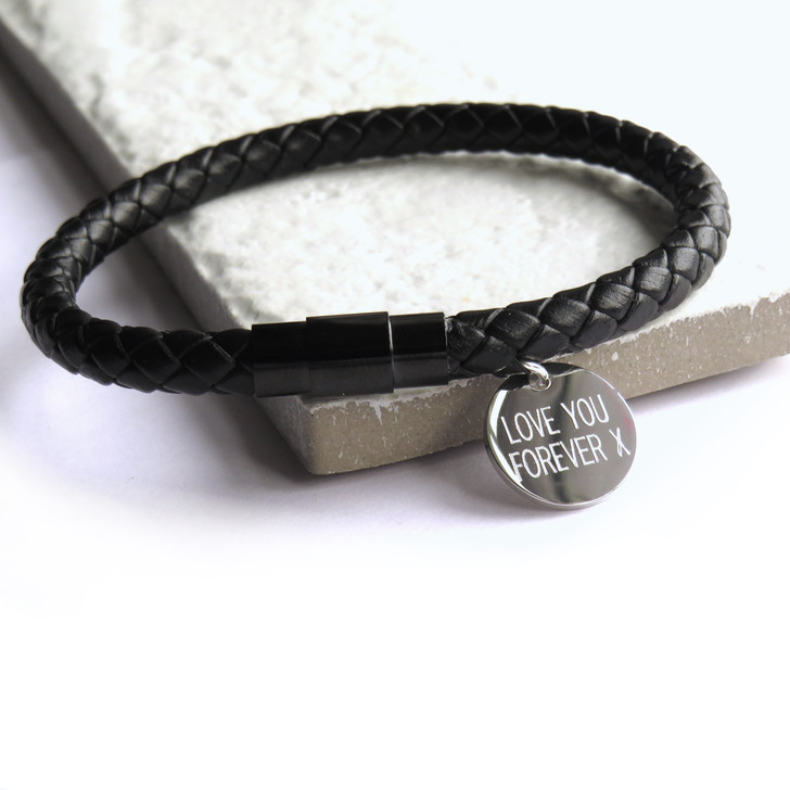 Personalised men's black leather rope bracelet is made with a black 304 stainless steel magnetic clasp, it's a simple trendy design that can be worn on it's own or with other designs and is suitable for men or teenage boys. UK dropshipping