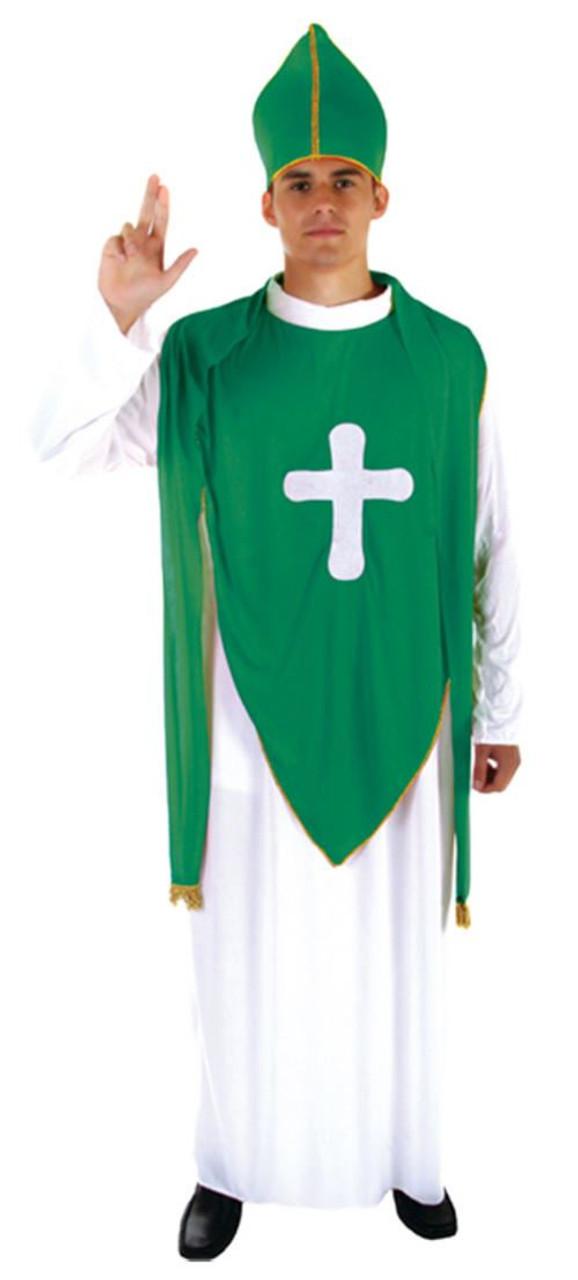 a49fb77596a7c Adults St Patrick's Day Green & White Irish Priest Ireland Fancy Dress  Costume