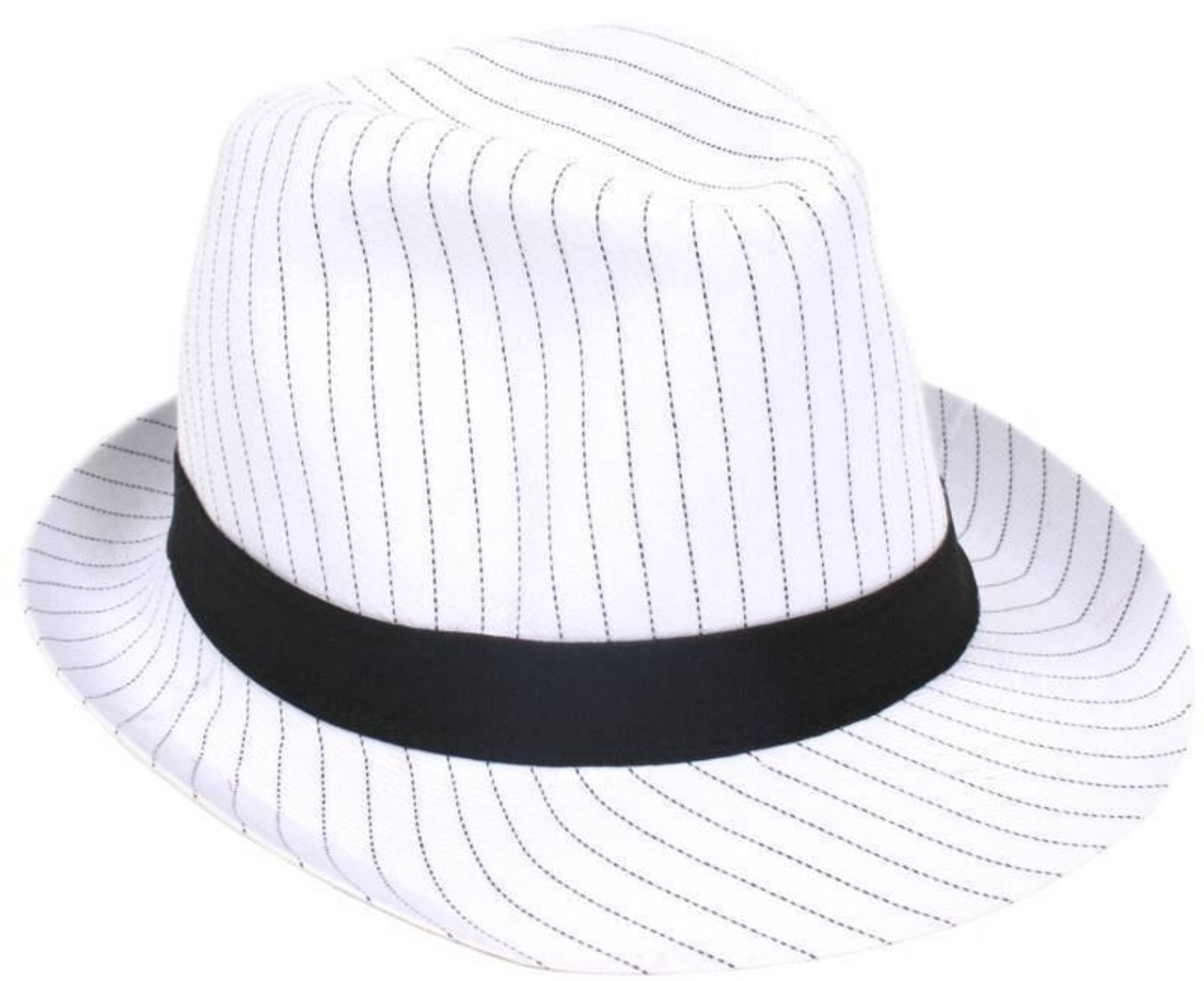 942113b68 Pin Stripe White Trilby Hat Black Band Fancy Dress UK
