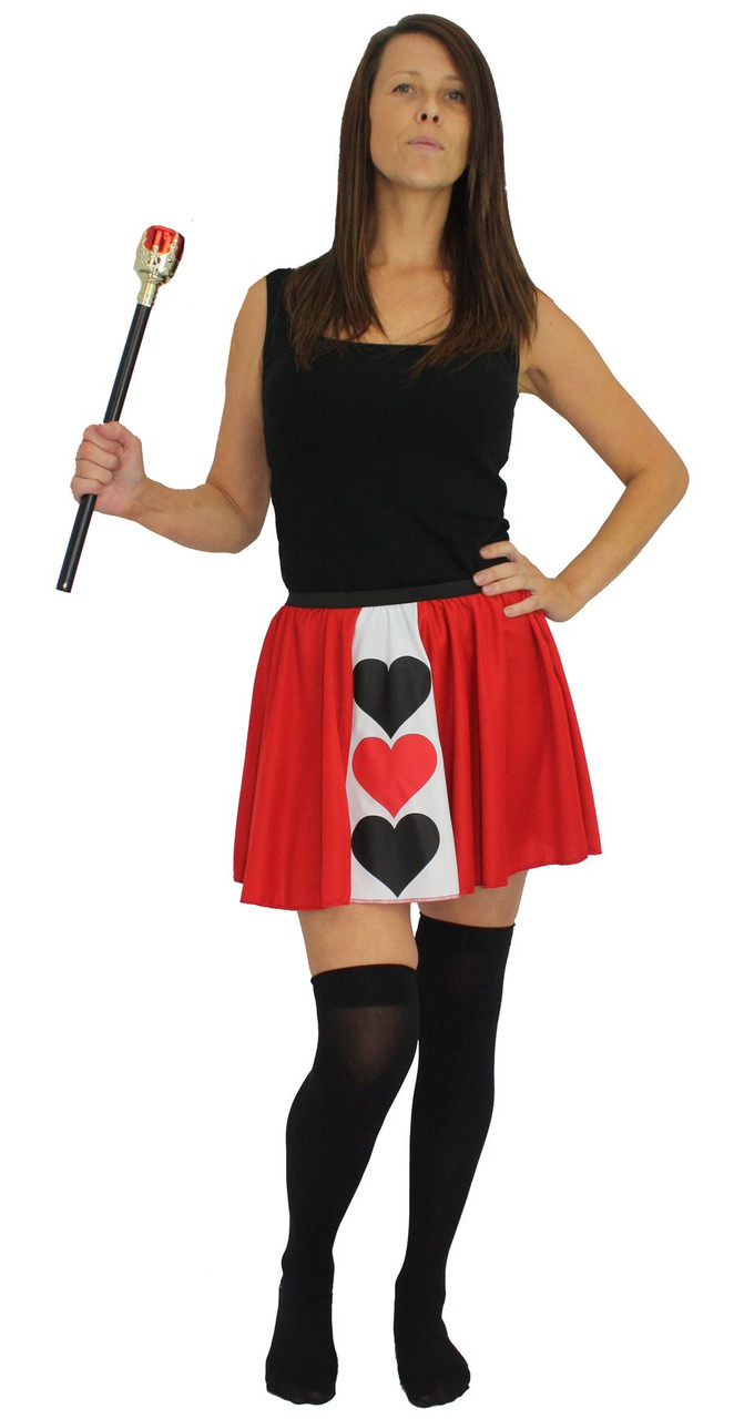 239a4f86cb Ladies Queen of Hearts Panel Skater Skirt Wonderland Fancy Dress ...