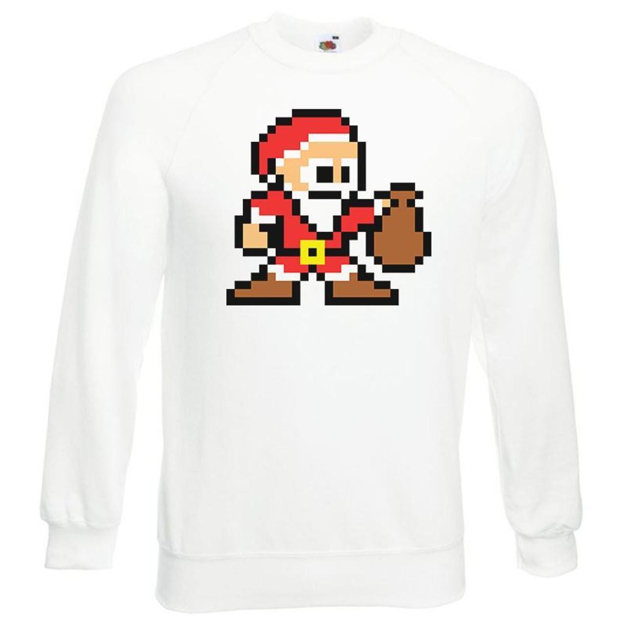 Geek Christmas Jumper.Unisex 8 Bit Santa Retro Gaming Geek Festive Christmas Jumper