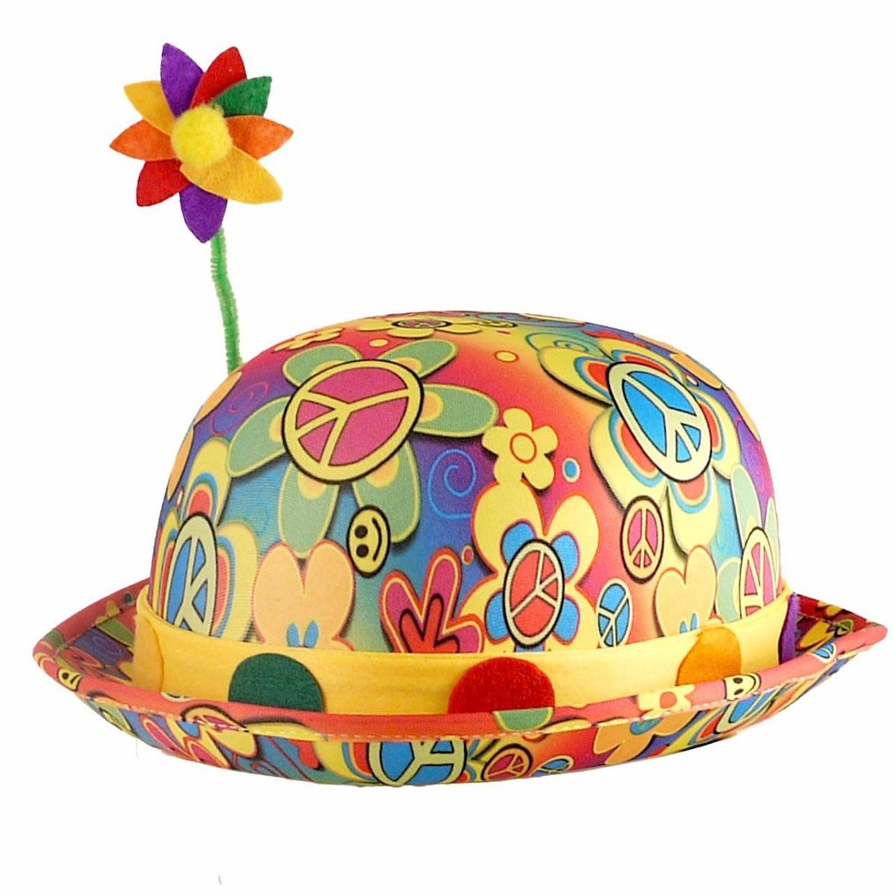 Adults Multi-coloured Bright Floral Flower Fancy Dress Clown Bowler ... b7da726ccece
