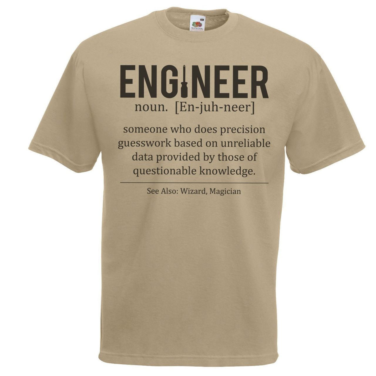 68e3be238 Adult Male Khaki Engineer Defined T-Shirt Engineering Student TShirt Funny  Novelty Top