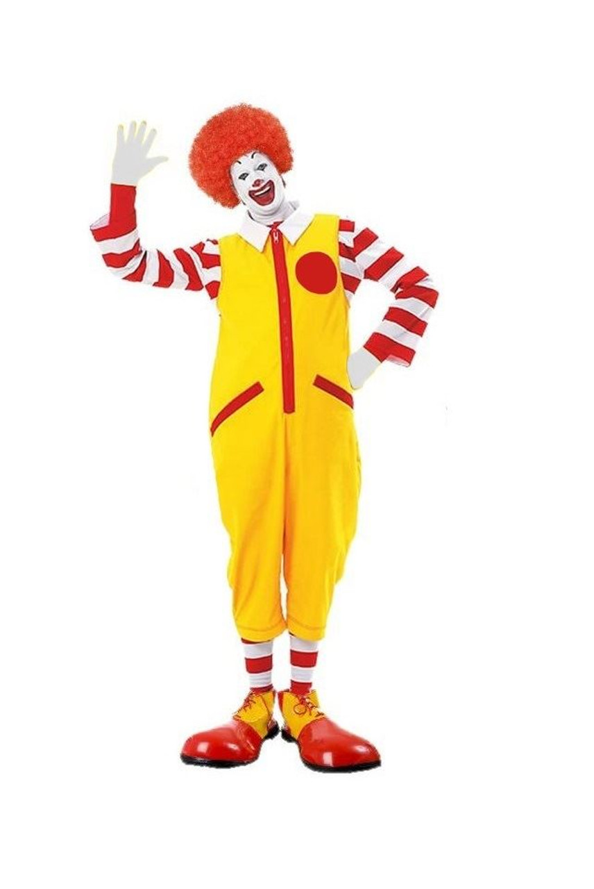 Complete Deluxe Adult Ronald McDonald Costume Shoes-Wig-Socks One Size NEW US