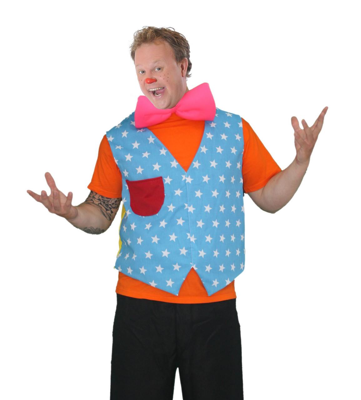 d677b7e48ba Mens Mr Tumbles Kit Waistcoat   Bowtie Fancy Dress Gigglebiz Costume ...