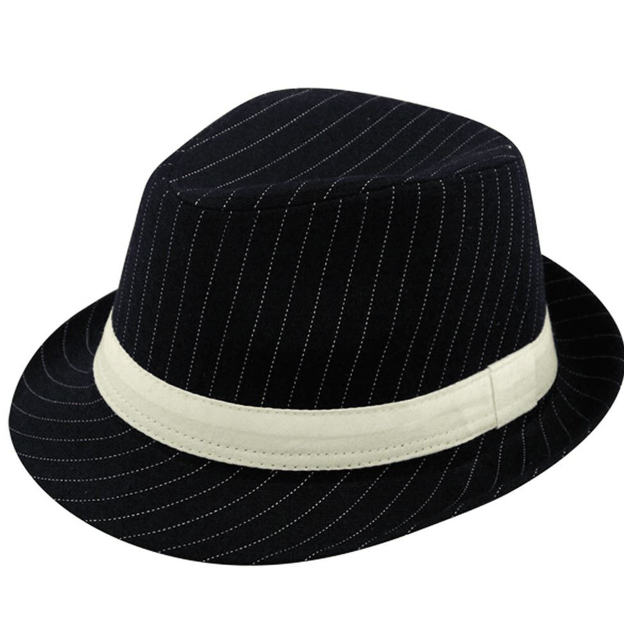 ddce856ae Mens Deluxe Black Pin Stripe Gangster Fancy Dress Trilby Hat Accessory