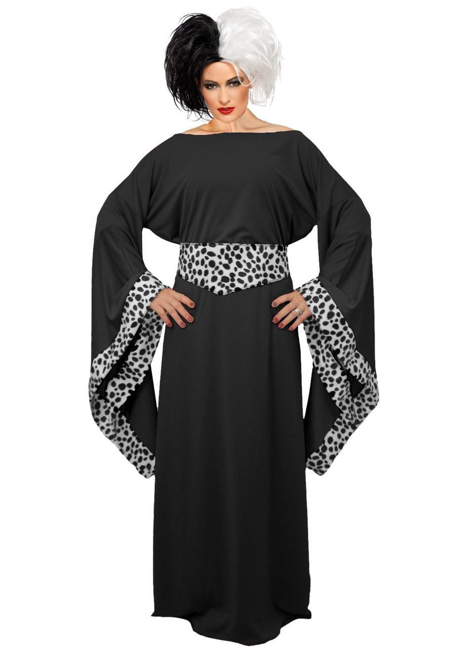 Ladies Black Cruella De Ville Costume 101 Dalmatians Halloween Fancy