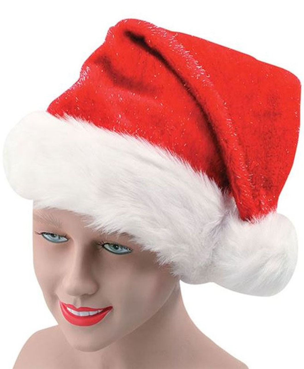 e8be3e8aa1b Adults Red   Gold Glitter Santa Hat with White Trim Christmas Accessory