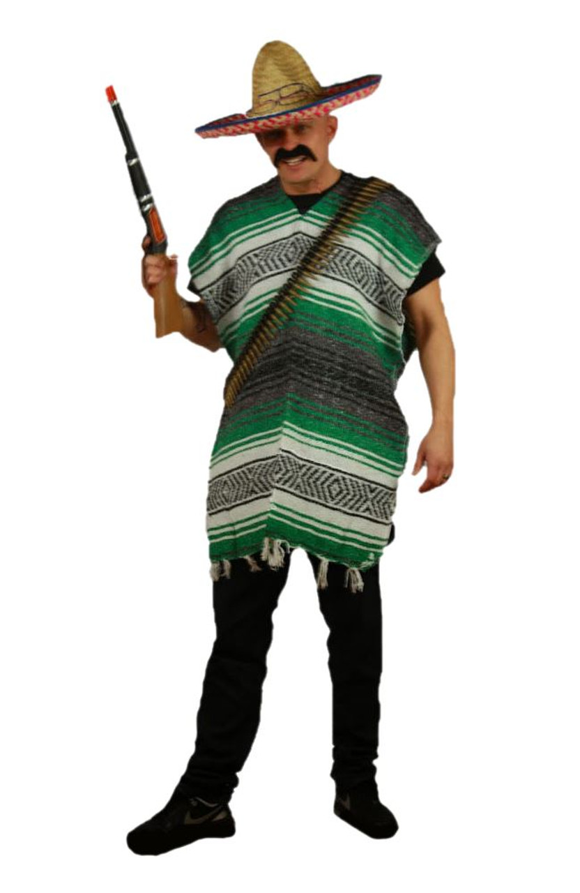 Adults Green   White Mexican Bandit 4 Pc Fancy Dress Wild West World Costume b28ba0375ab2