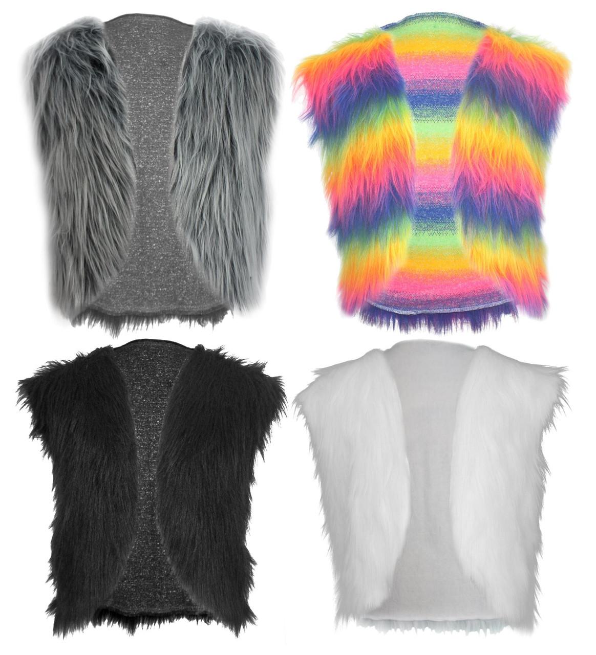 Adults Mulit-Coloured Faux Fur Waistcoat Gay Pride LGBT Hippy Fancy Dress