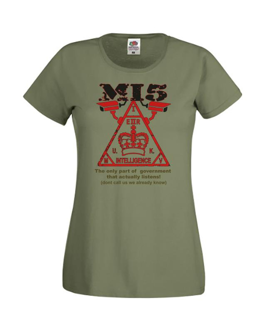 Unisex Olive Green Love my Country Government I/'m Afraid of T-Shirt Shirt