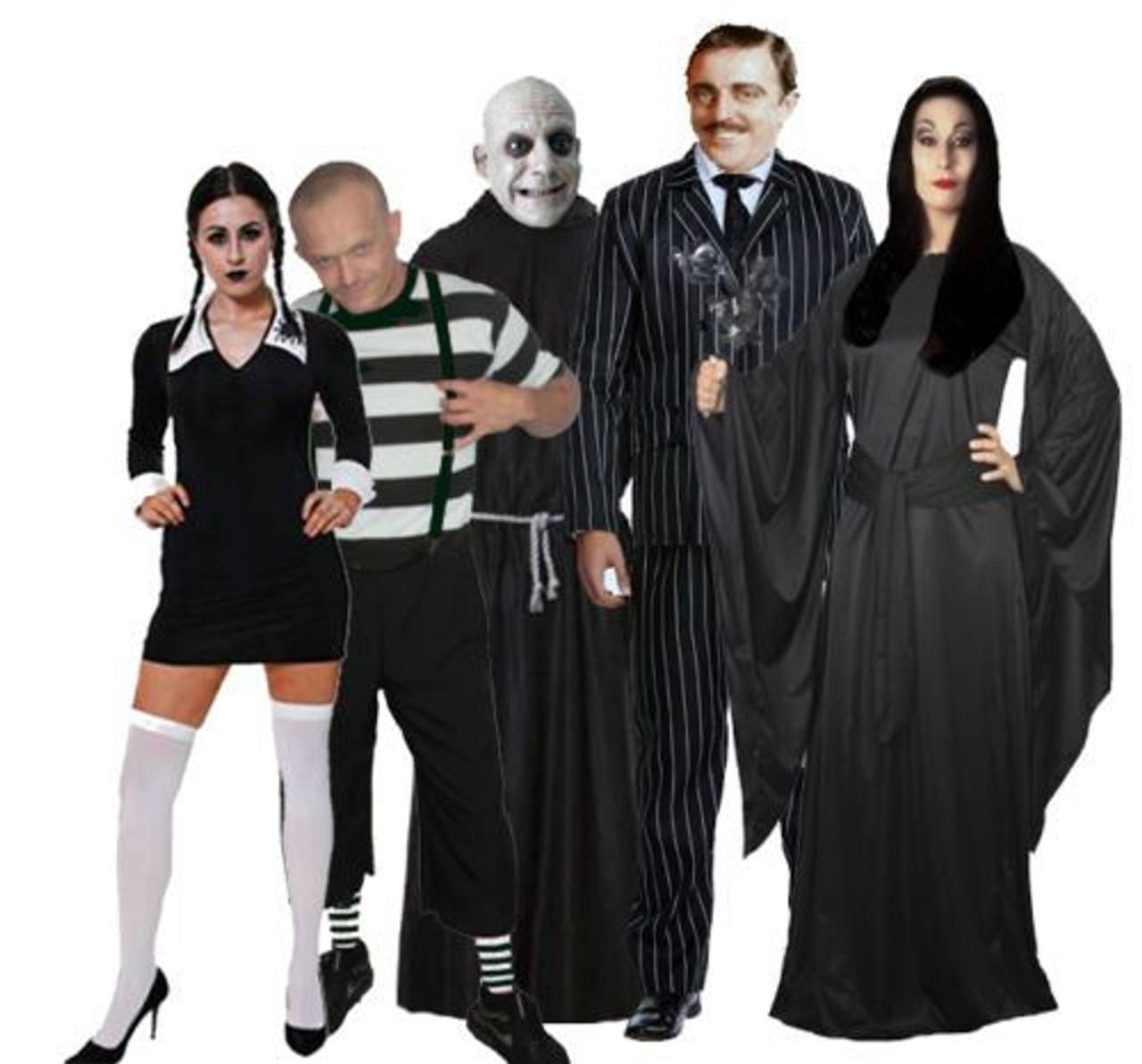 Kids Uncle Fester Addams Family Fancy Dress Halloween Robe BALD WIG /& Facepaint