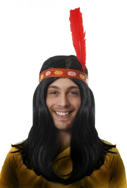 115addde94cf3e Long Deluxe Native American Male Indian Fancy Dress Wig with Red Feather