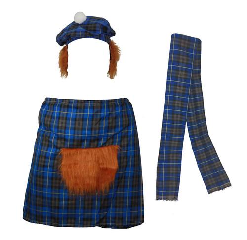 The Dragons Den Blue Hunting Scottish Tartan Kilt Fancy Dress Costume Set