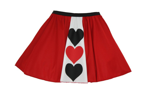 ac78c323c2 ... Ladies Queen of Hearts Panel Skater Skirt Wonderland Fancy Dress ...