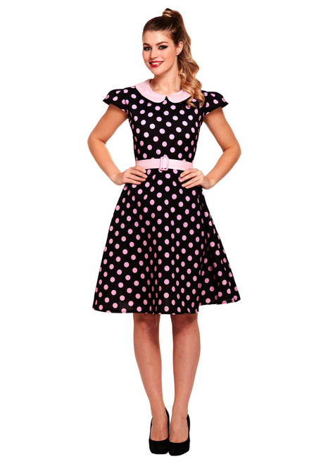 Adults Red or Black Ugly Sisters Polka Dot Complete Fancy Dress Costume