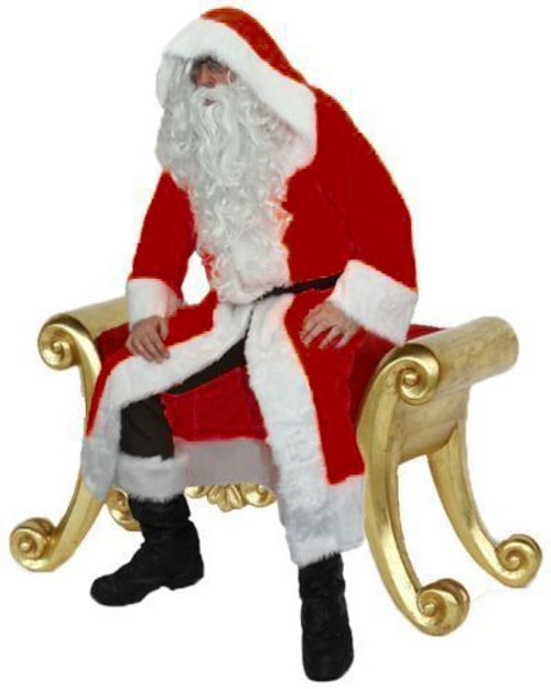 Christmas Fancy Dress.Deluxe Red Santa Clause Fleece St Nick Father Christmas Fancy Dress Costume