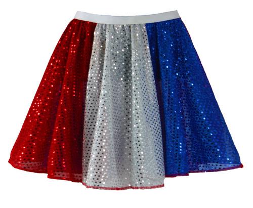 """Ladies 15/"""" Coloured Sequin Fancy Dress 1970/'s Disco Dance Diva Skater Skirt"""