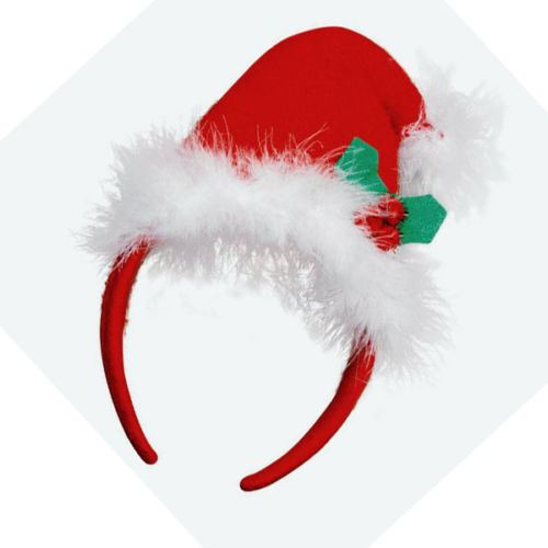 Womans Female Red Christmas Hat Xmas Santa Fascinator Plush Fancy Dress Red Christmas  Fascinator Band 1675659d576
