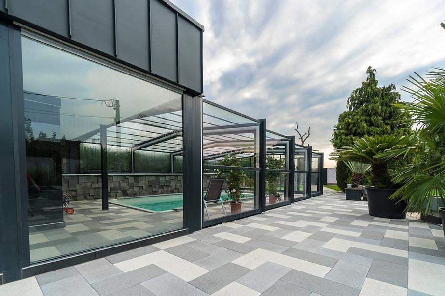 Certikin telescopic retractable commercial swimming pool - Retractable swimming pool enclosures ...
