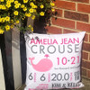 Pillow-Birth Announcement-Whale Pink