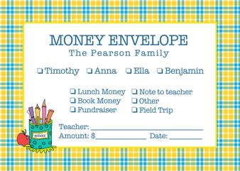 Money Envelopes - Plaid