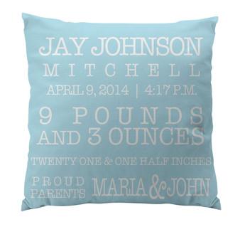 Pillow-Birth Announcement I