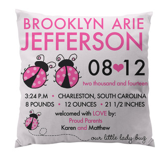 Pillow-Birth Announcement-Ladybugs Pink
