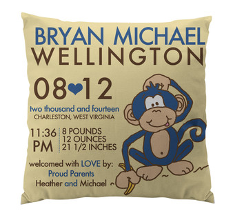 Pillow-Birth Announcement-Monkey Boy