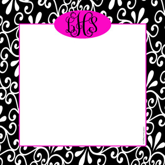 Scribble Square-Hot Pink Damask