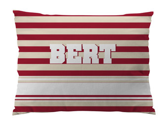 Dog Bed-IVORY and GARNET RUGBY