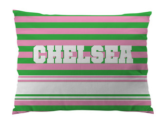 Dog Bed-PINK and GREEN RUGBY