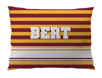 Dog Bed-YELLOW and GARNET RUGBY