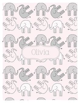 Blanket- Elephants II-Dots-Pink-Girl