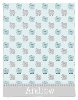 Blanket- Blue and Gray Elephants